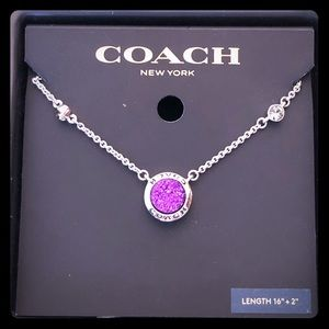 Coach- pave purple crystal with silver necklace